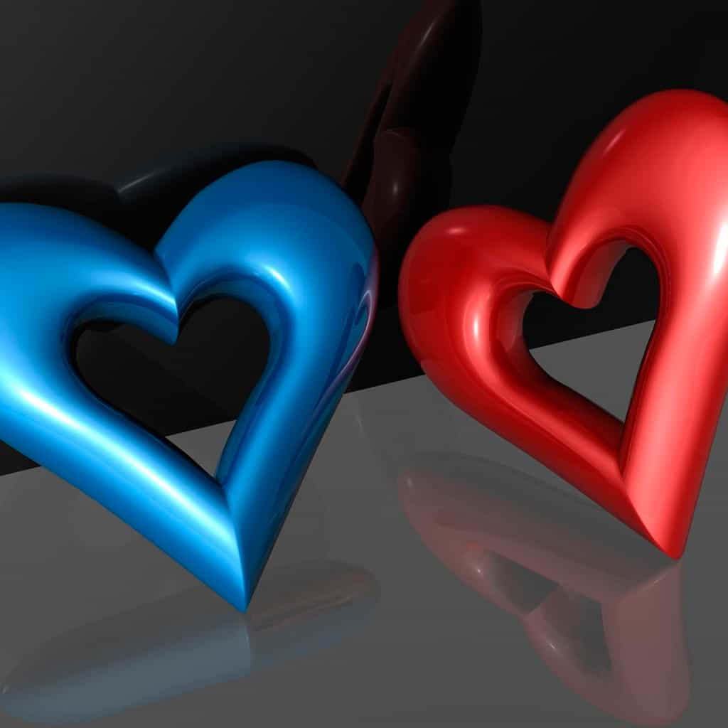 heart blue red