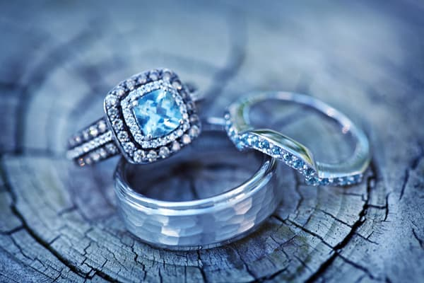 trio rings - Colored Wedding Rings